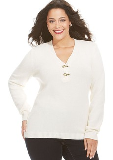 Charter Club Plus Size Metallic V-Neck Buckle Sweater