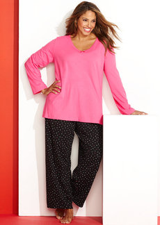 Charter Club Plus Size Mix It Up Top and Pajama Pants Set