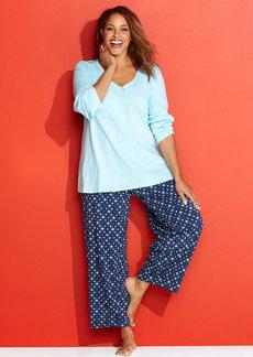 Charter Club Plus Size Mix It Up Top and Pajama Pants Set