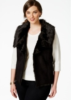 Charter Club Plus Size Mixed-Media Vest, Only at Macy's