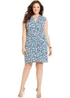 Charter Club Plus Size Mosaic-Print Faux-Wrap Dress