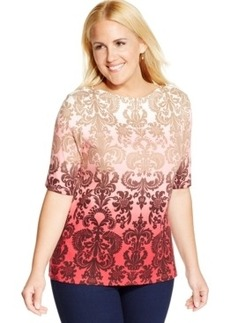 Charter Club Plus Size Ombre-Print Tee