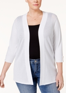 Charter Club Plus Size Open-Front Button-Cuff Cardigan, Only at Macy's