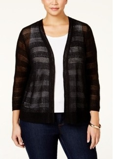 Charter Club Plus Size Open-Stitch-Striped Cardigan, Only at Macy's