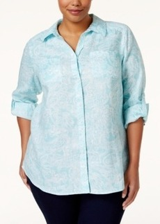 Charter Club Plus Size Paisley Button Down Shirt, Only at Macy's