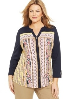 Charter Club Plus Size Paisley-Print Blouse