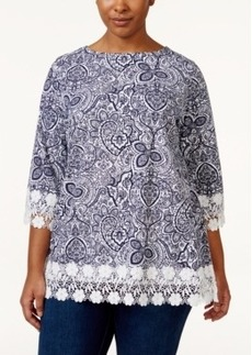 Charter Club Plus Size Paisley-Print Lace-Trim Top, Only at Macy's