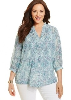 Charter Club Plus Size Paisley-Print Pintucked Blouse