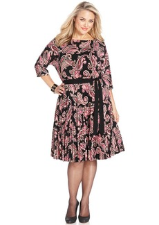 Charter Club Plus Size Paisley-Print Pleated A-Line Dress