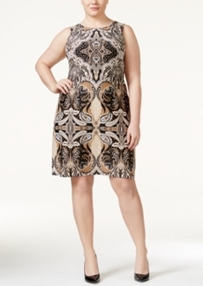 Charter Club Plus Size Paisley-Print Sleeveless Shift Dress, Only at Macy's