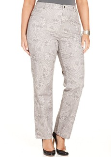 Charter Club Plus Size Paisley-Print Straight-Leg Jeans