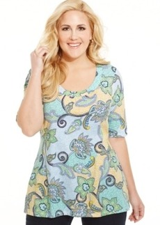 Charter Club Plus Size Paisley-Print Tee