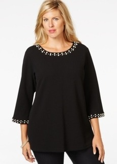 Charter Club Plus Size Pearl-Embellished Top, Only at Macy's