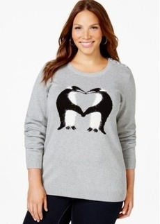 Charter Club Plus Size Penguin-Print Sweater, Only at Macy's