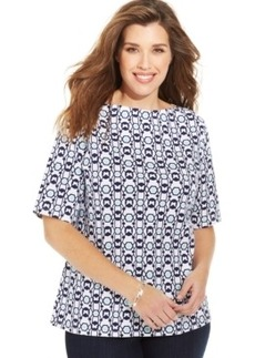 Charter Club Plus Size Pima-Cotton Butterfly-Print Tee