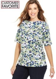 Charter Club Plus Size Pima-Cotton Floral-Print Tee
