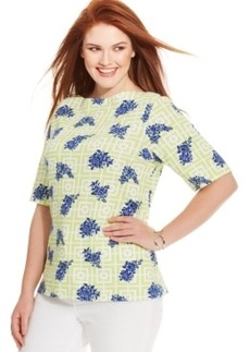 Charter Club Plus Size Pima-Cotton Floral-Print Tee