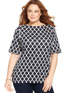 Charter Club Plus Size Pima-Cotton Icon-Print Tee