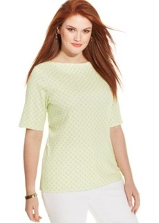 Charter Club Plus Size Pima-Cotton Knot-Print Tee