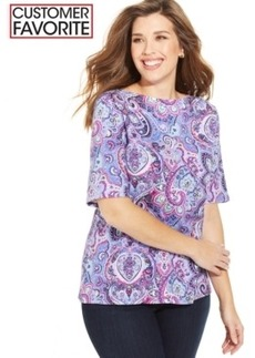 Charter Club Plus Size Pima-Cotton Paisley-Print Tee