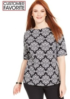 Charter Club Plus Size Pima-Cotton Printed Tee