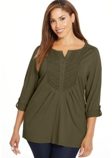 Charter Club Plus Size Pintucked Bib Top, Only at Macy's