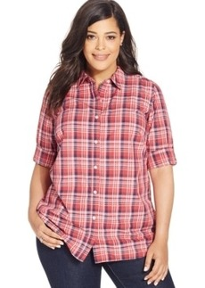 Charter Club Plus Size Plaid-Print Button-Front Shirt