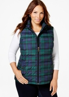 Charter Club Plus Size Plaid Quilted Vest, Only at Macy's
