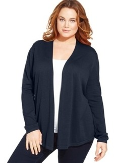 Charter Club Plus Size Pointelle-Back Cardigan