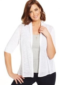 Charter Club Plus Size Pointelle Open-Front Cardigan