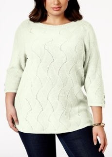 Charter Club Plus Size Pointelle Textured Sweater, Only at Macy's