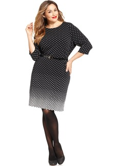 Charter Club Plus Size Polka-Dot Belted Dress