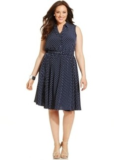 Charter Club Plus Size Polka-Dot Belted Shirtdress