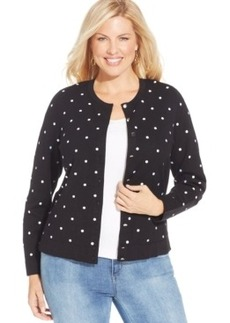 Charter Club Plus Size Polka-Dot Cardigan