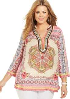 Charter Club Plus Size Printed Beaded Tunic