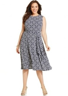 Charter Club Plus Size Printed Belted Dress