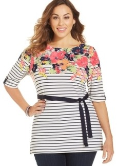 Charter Club Plus Size Printed Belted Tunic