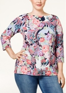 Charter Club Plus Size Floral-Print Striped Top, Only at Macy's