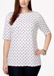 Charter Club Plus Size Printed Boat-Neck Top, Only at Macy's