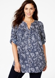 Charter Club Plus Size Printed Button-Down Blouse, Only at Macy's