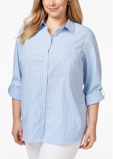 Charter Club Plus Size Gingham Button Down Shirt, Only at Macy's