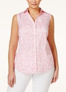 Charter Club Plus Size Printed Button Down Shirt, Only at Macy's