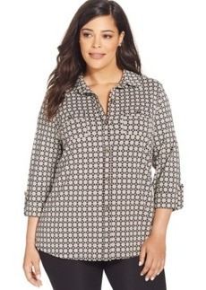 Charter Club Plus Size Printed Button-Front Shirt