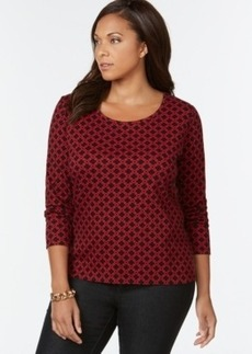 Charter Club Plus Size Printed Cotton Top, Only at Macy's