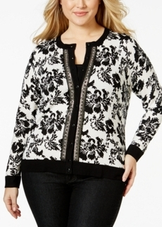 Charter Club Plus Size Printed Embellished Cardigan, Only at Macy's