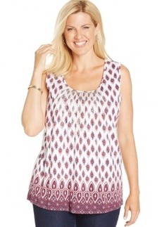Charter Club Plus Size Printed Embellished Tank Top