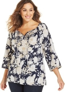 Charter Club Plus Size Printed Embroidered Peasant Top
