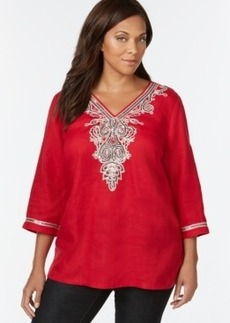 Charter Club Plus Size Printed Embroidered-Trim Tunic, Only at Macy's