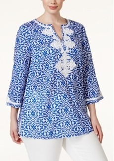 Charter Club Plus Size Printed Embroidered Tunic, Only at Macy's