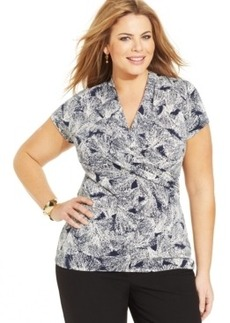 Charter Club Plus Size Printed Faux-Wrap Top